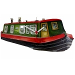 Green and Red Canal Boat Barge Clock