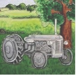 Grey Fergie Tractor Square Ceramic Tile