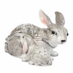 Grey Rabbit and Baby Trinket Box