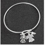 Guardian Angel and Feather Open Bangle