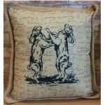 Country Boxing Hares Filled Cushion
