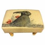 Hare and Poppies Rectangular Footstool