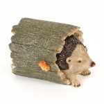 Hedgehog in Tree Trunk Ornament
