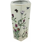 Hexagonal Roses and Butterflies Ceramic Umbrella Stand