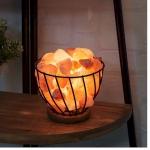Himalayan Rock Salt Metal Basket Table Lamp