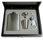 Hip Flask in Wooden Display Box
