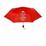 Keep Calm and Carry On Red Folding Umbrella with Cover