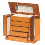 Large Oak Finish Wooden Ladies Jewellery Box