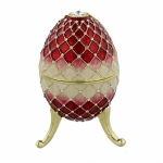 Large Red, Pink and Cream Egg Trinket Box