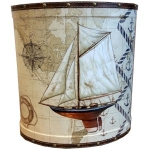 Large Sailing Boat Wooden Oval Waste Bin