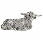 Large Silver Highland Cow Lying Ornament