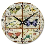 Large Wooden Round Butterflies and Birds Wall Clock
