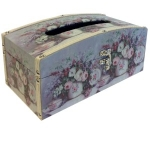 Lilac Floral Wooden Tissue Box