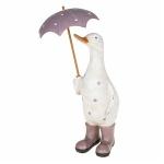Lilac Polka Dot Duck with Umbrella Ornament