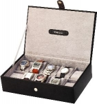 Mens Black and Silver 10 Watch Box
