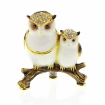 Mother and Baby Owl Trinket Box