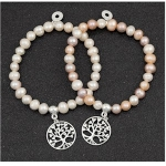 Multi Pearl Bracelet with Tree of Life Charm