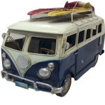 Navy Blue Campervan Metal Model with Surfboards
