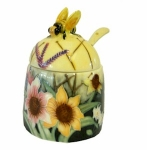 Old Tupton Ware Summer Bouquet Honey Pot and Spoon