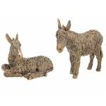 Pair of Bronze Standing and Lying Donkey Ornaments