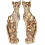 Pair of Small Golden Glitter Cats