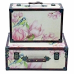 Pink Floral Set of Two Wooden Storage Suitcases