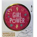 Pink Girl Power Wireless Phone Charger for QI Phones
