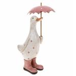 Pink Polka Dot Duck with Umbrella Ornament