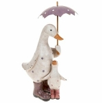 Pink and Lilac Polka Dot Duck & Baby with Umbrella Ornament