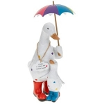 Rainbow Polka Dot Duck Family with Umbrella Ornament