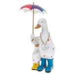 Rainbow Polka Dot Duck Mum with Umbrella Ornament