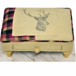 Rectangular Beige and Pink Stag Footool with Drawer