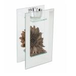 Rectangular Brown Flower Single Tea Light Holder