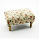 Rectangular Cream and Pink Rose Footstool with Drawer