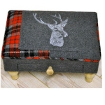 Rectangular Dark Grey and Red Stag Footool with Drawer