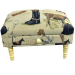 Rectangular Equestrian Tapestry Footstool with Drawer