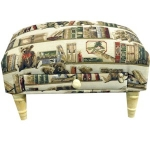 Rectangular Teddy in the Library Tapestry Footstool with Drawer