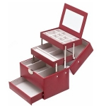 Red Four Level Lockable Auto Tray Jewellery Box
