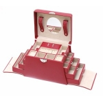 Red Hour Glass Shaped Lockable Jewellery Box