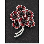 Red Poppy Bouquet Magnetic Brooch