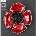 Red Poppy Silver Plated Brooch