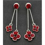Red Double Poppy Drop Earrings