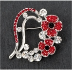 Red Poppy Heart Brooch