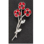 Red Poppy Posy Brooch