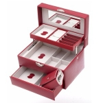 Red Rectangular Lockable Auto Tray Jewellery Box