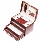 Red Rectangular Lockable Jewellery Box