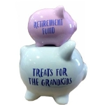 Retirement Fund Double Stacked Piggy Bank