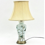 Round Pale Blue Butterfly Ceramic Table Lamp