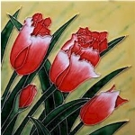 Ruffled Red Tulip Bloom Square Tile