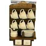 County Kitchen Rustic Wooden Rack with Cups and Saucers